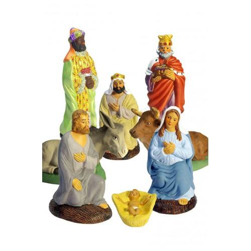 Set de 8 pièces nativité avec Vierge bleue