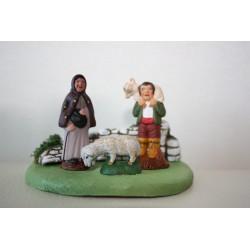 Bergère et Berger avec mouton